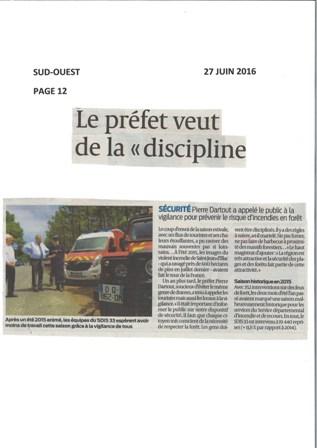Article Sud-Ouest 27 Juin 2016